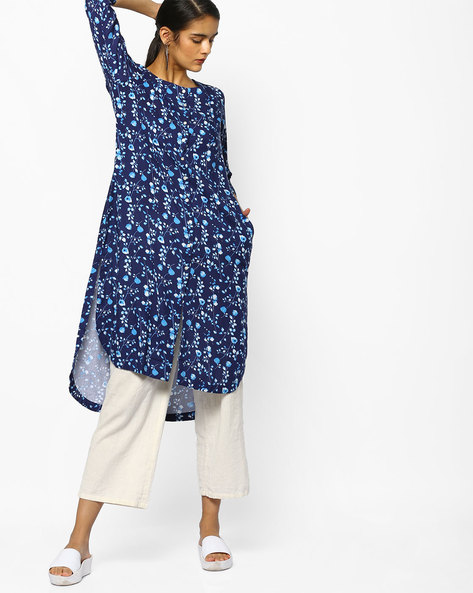Floral Print Kurta With High-Low Hemline By PE IW Casual ( Blue )