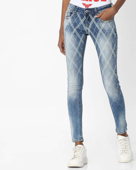 Skinny Fit Ankle-Length Jeans By Deal Jeans ( Blue )
