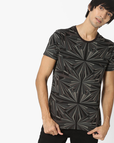 Geometric Print Cotton T-shirt By FLYING MACHINE ( Darkgrey )