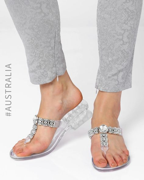 Celebrate Jelly Wedge Sandals By Holster ( Clear )