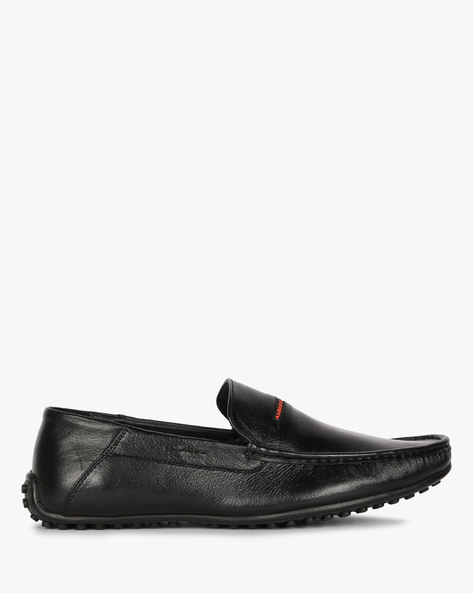 Textured Moccasin Slip-On Shoes By ALBERTO TORRESI ( Black )