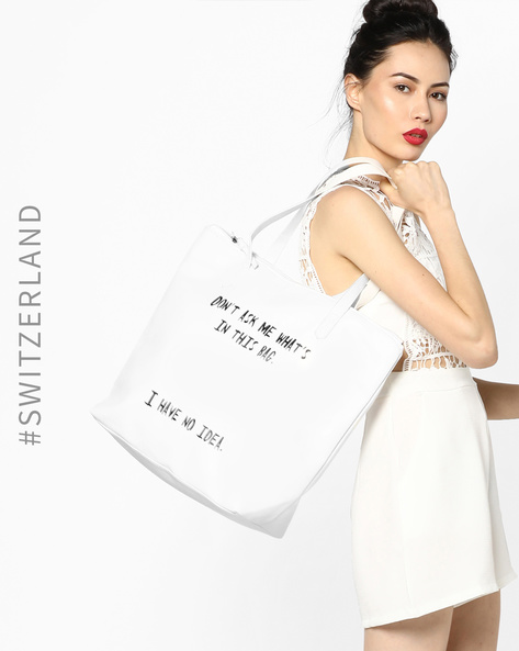 Oversize Tote Bag With Typographic Print By TALLY WEiJL ( White )