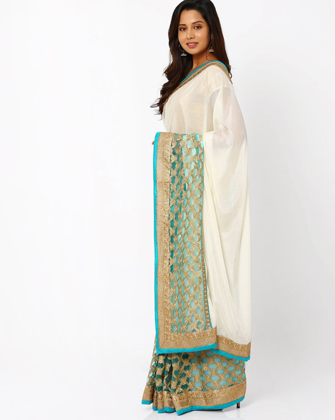 Embroidered Georgette Saree By Viva N Diva ( White )
