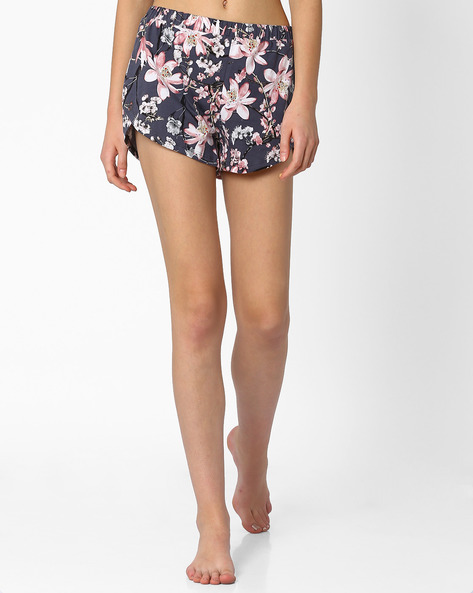 Floral Print Lounge Shorts By AJIO ( Navyblue )