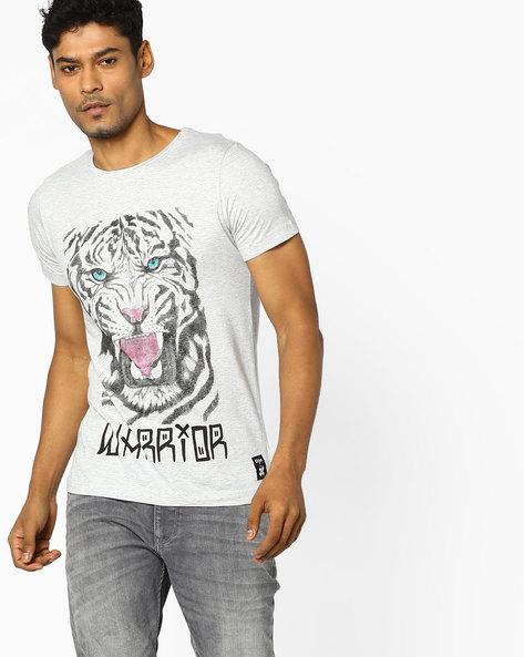 Tiger Print T-shirt By KULTPRIT ( Grey )