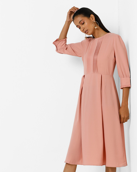 Pleated Midi Dress With Ruffled Sleeves By Femella ( Rose )