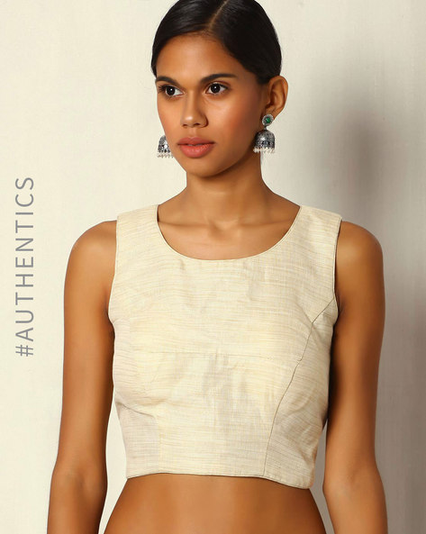 Handwoven Silk Cotton Plain Sleeveless Back Open Blouse By Moksh ( Ivory )
