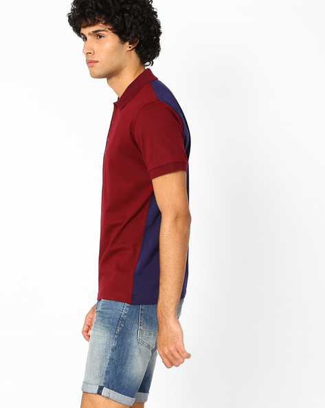 Slim Fit Polo T-shirt With Contrast Back By Blue Saint ( Multi )