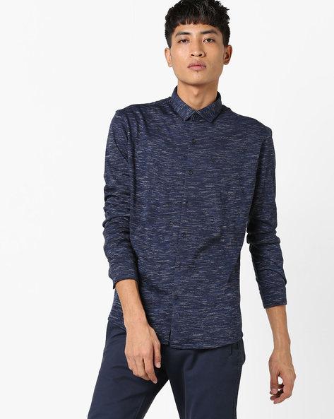 Heathered Shirt With Curved Hemline By BASICS ( Navy )