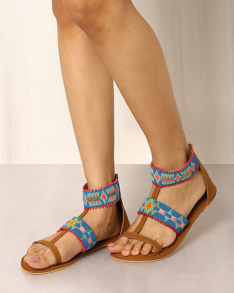 Beaded Flat Sandals With Ankle Strap By Indie Picks ( Brown )