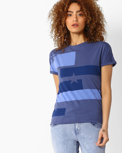 Graphic Print T-Shirt With Upturned Sleeve Hems By WRANGLER ( Blue )