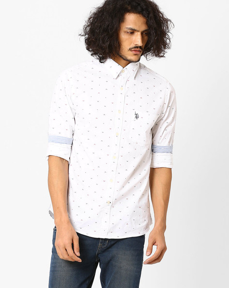 Printed Cotton Shirt By US POLO ( White )