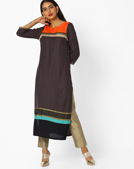 Polka-Dot Print Straight Kurta By W ( Grey )