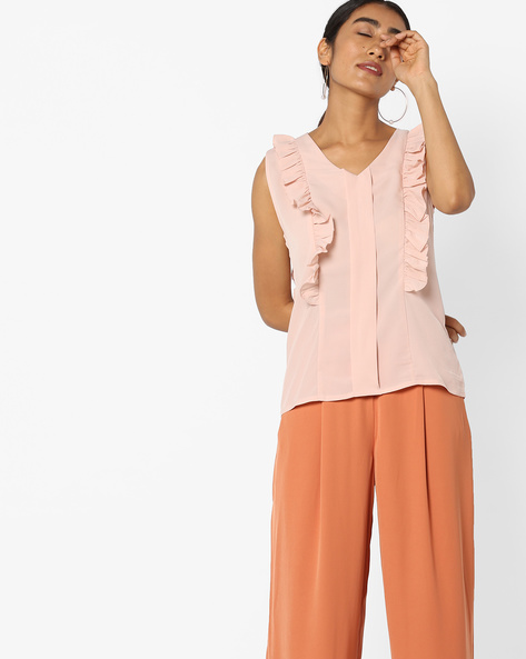 Sleeveless Top With Ruffled Panels By Evah London ( Nude )
