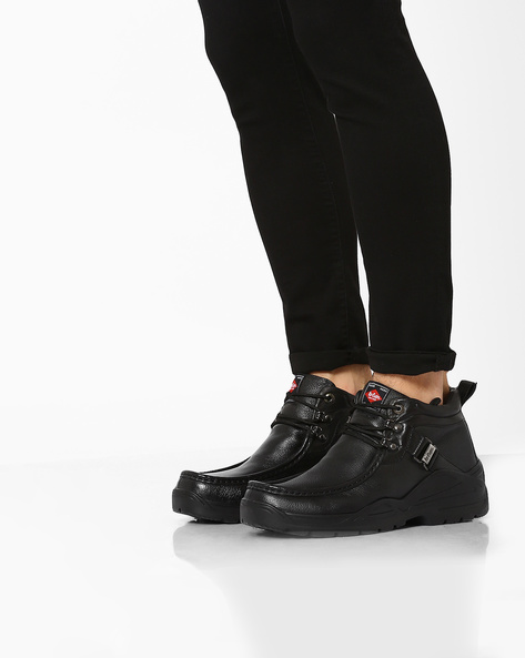 Mid-Top Leather Formal Shoes By Lee Cooper ( Black )