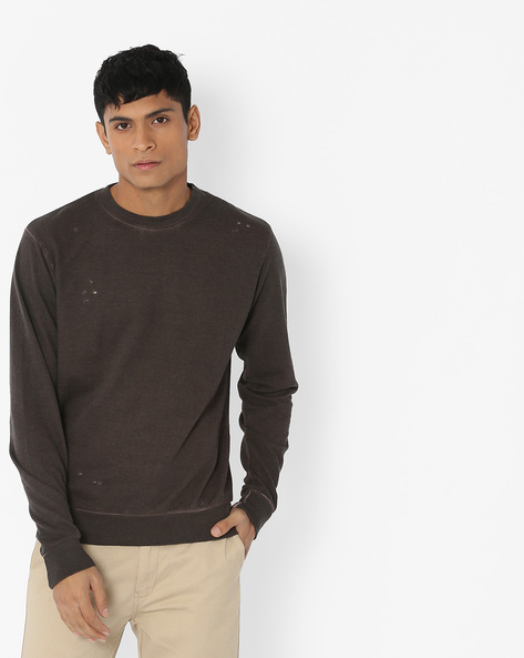 Distressed Crew-Neck Sweatshirt By Blue Saint ( Charcoal )
