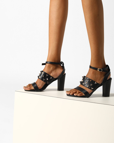 Strappy Chunky Heels With Metallic Studs By MFT Couture ( Black )