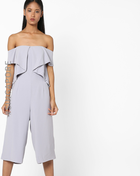 Playsuit With Off-Shoulder Sleeves By MDS ( Grey )