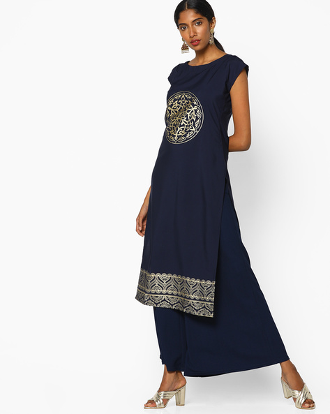 Foil Print Straight Kurta By ZIYAA ( Blue ) - 460097574001