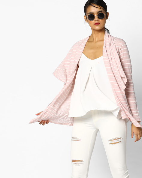 Textured Striped Shrug By Project Eve WW Athleisure ( Ltpeach )