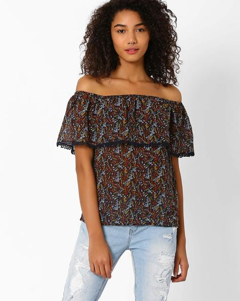 Printed Off-Shoulder Top By Vero Moda ( Grey )