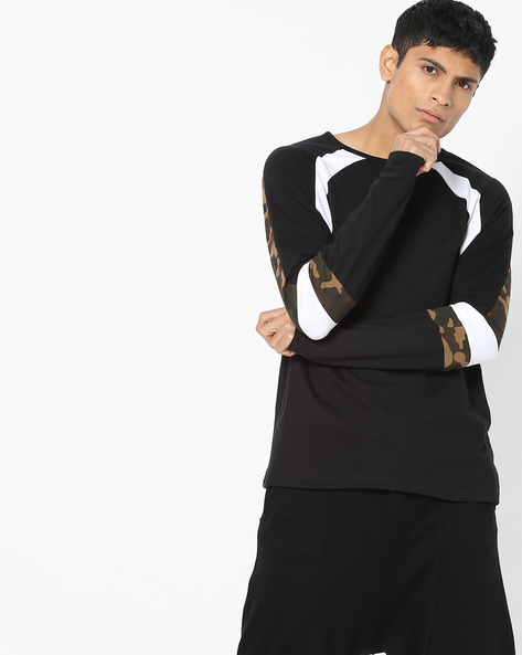 Colourblock Crew-Neck Sweatshirt By DEEZENO ( Black )