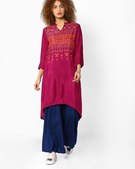 Printed High-Low Kurta By Melange By Lifestyle ( Mauve )