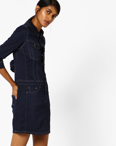 Slim Fit Printed Shirt Dress By Lee ( Blue )