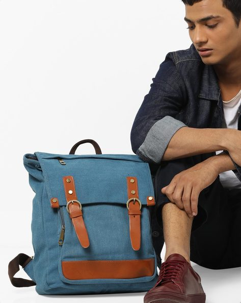 Backpack With Flap Closure By AJIO ( Darkblue )