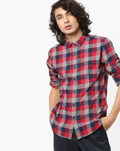 Slim Fit Yarn-Dyed Checked Shirt By Locomotive ( Multi )