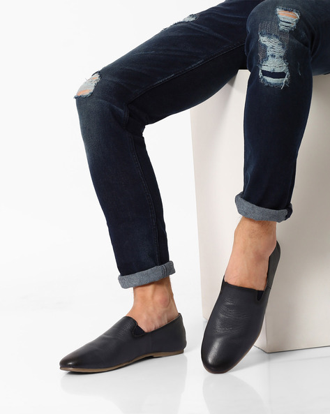 Genuine Leather Slip-Ons By VALENTINO ( Blue )