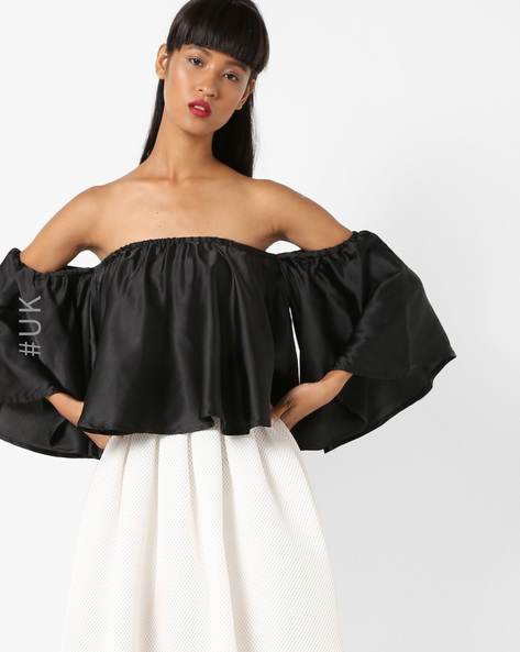 Off-Shoulder Top With Batwing Sleeves By INFLUENCE ( Black )