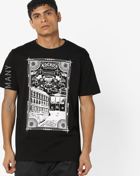 Crew Neck Graphic Print T-shirt By Dangerous DNGRS ( Black )