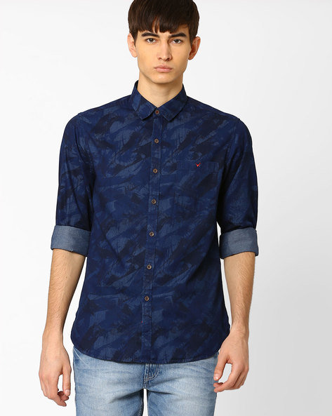Ansley Sport Slim Fit Shirt By Wills Lifestyle ( Blue )