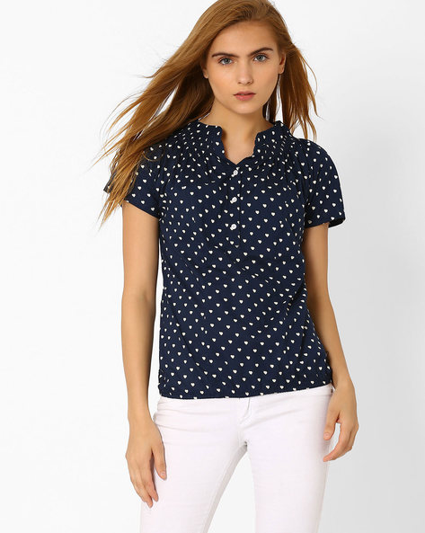 Printed Top With Smocked Neckline By DNM X ( Navy )