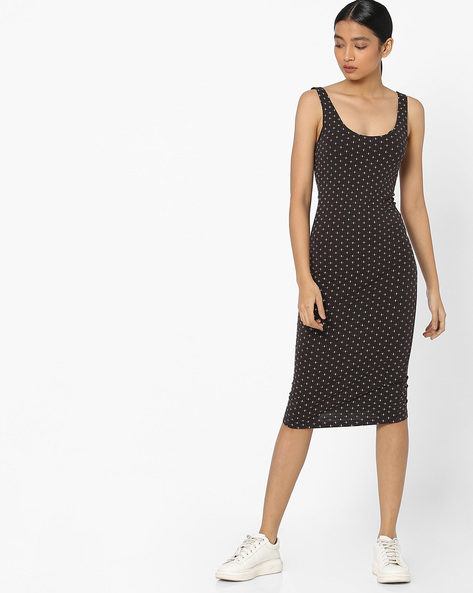 Sleeveless Polka-Dot Print Bodycon Dress By Pink Woman ( Black )