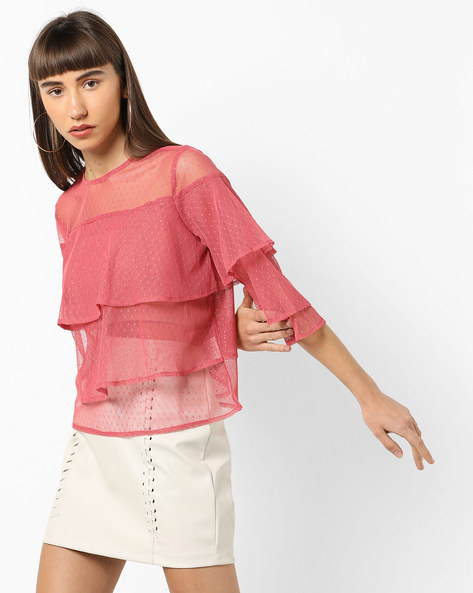 Tiered Mesh Top With Ruffles By AJIO ( Pink )