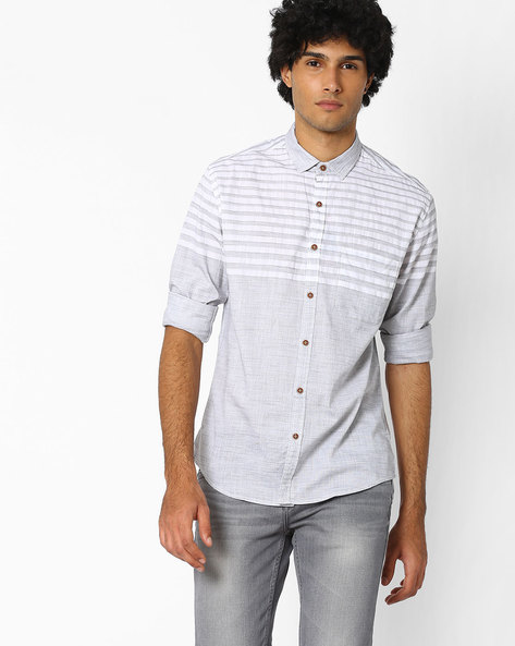 Slim Fit Cotton Shirt With Stripes By Nature Casuals ( Multicolor )