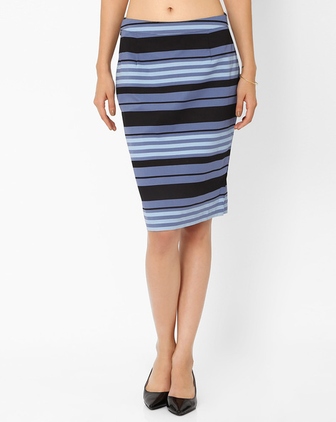 Striped Skirt By AJIO ( Blue )