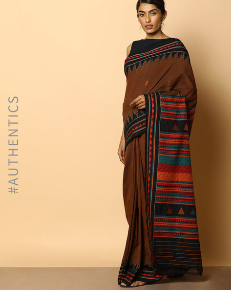 Handloom Dongria Cotton Saree By Indie Picks ( Brown )