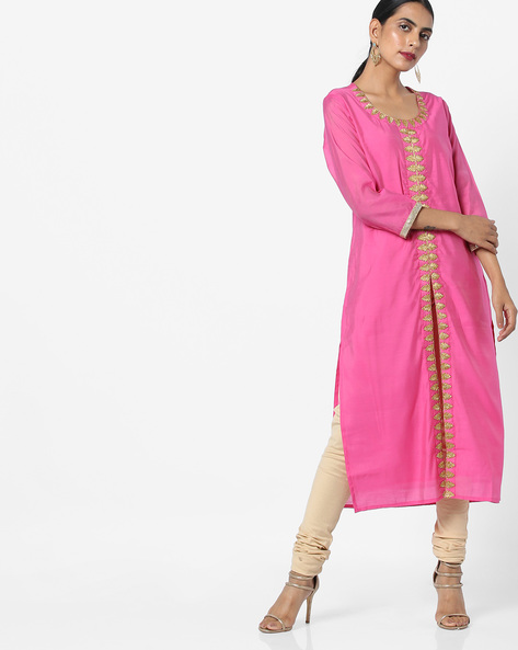 Dori-Embroidered Kurta With Front Slit By AJIO ( Fuchsia )