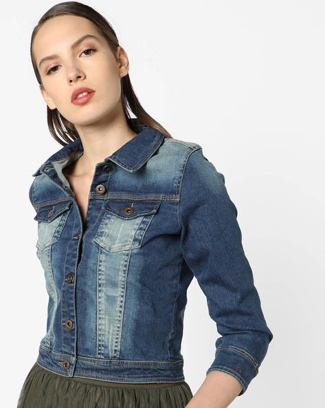 Mid-Washed Denim Jacket By Ginger By Lifestyle ( Blue )