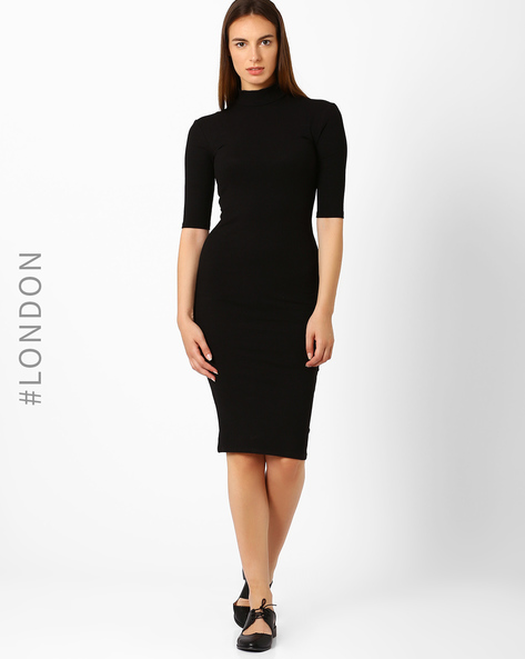 High-Neck Bodycon Dress By Marks & Spencer ( Black )