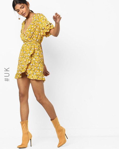 Floral Print Wrap Dress With Calypso Sleeves By INFLUENCE ( Mustard )
