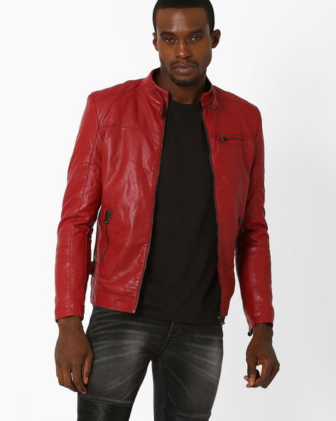 PU Jacket With Band Collar By Fort Collins ( Red )