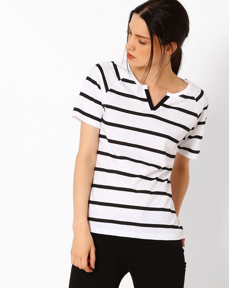 Striped Cotton T-shirt By TEAM SPIRIT ( Black )