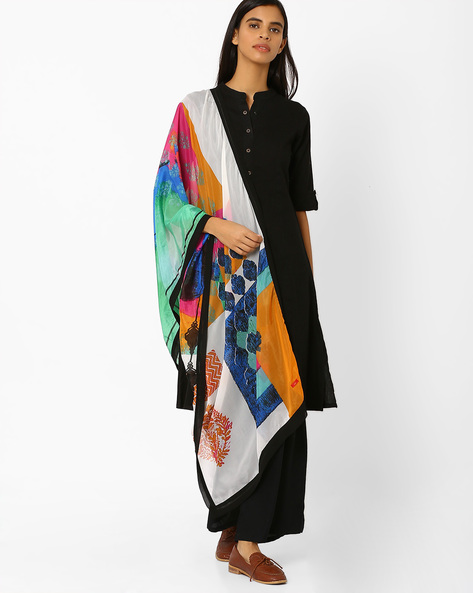 Graphic Print Dupatta By W ( White )