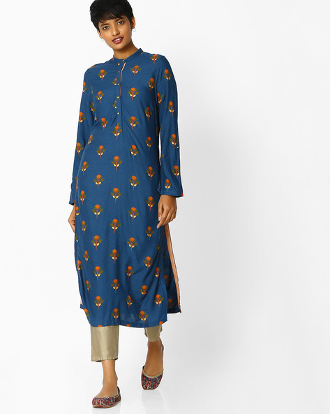 Floral Print Kurta With Button Placket By W ( Blue )