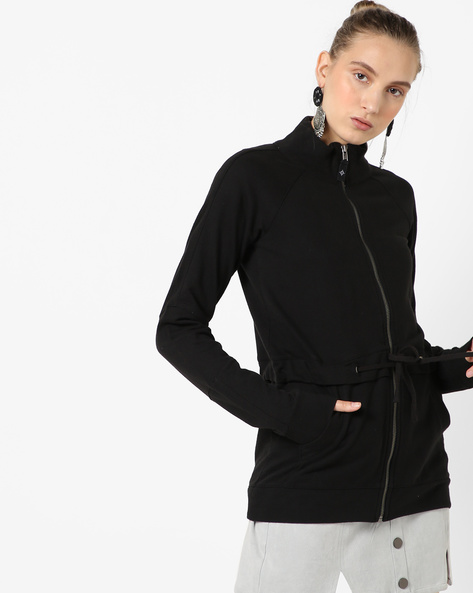 Zip-Front Jacket With Raglan Sleeves By SATVA ( Black )