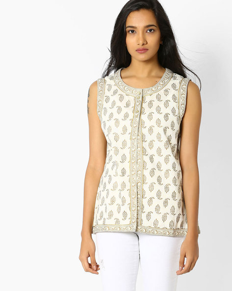 Printed Sleeveless Cotton Jacket By Jiyaa ( Pink )